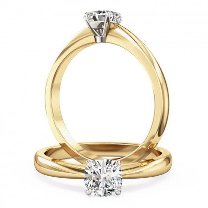 A classic Cushion Cut solitaire diamond ring in 18ct yellow & white gold