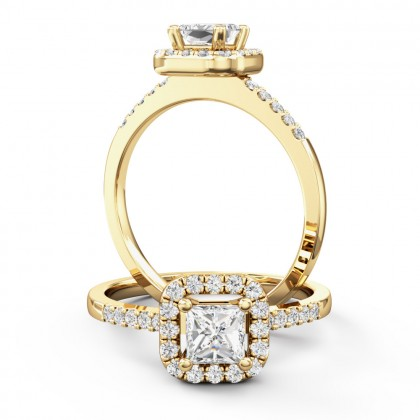 A stunning princess cut halo diamond ring in 18ct yellow gold