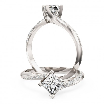 A stylish Princess Cut 'twist' engagement ring in 18ct white gold