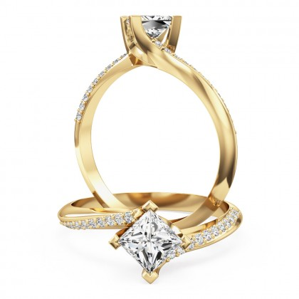 A stylish princess cut 'twist' engagement ring in 18ct yellow gold
