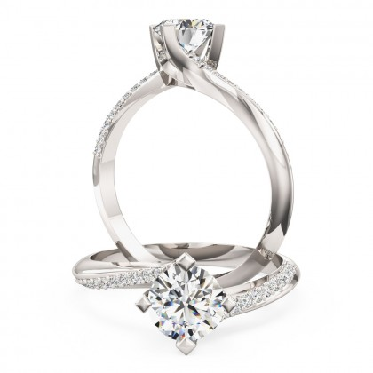 A stylish Round Brilliant Cut 'twist' engagement ring in 18ct white gold