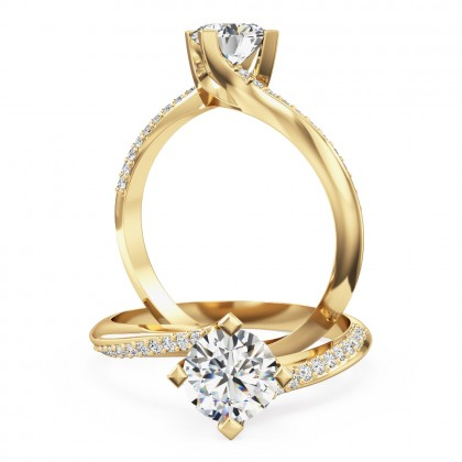 A beautiful round brilliant cut 'twist' engagement ring in 18ct yellow gold