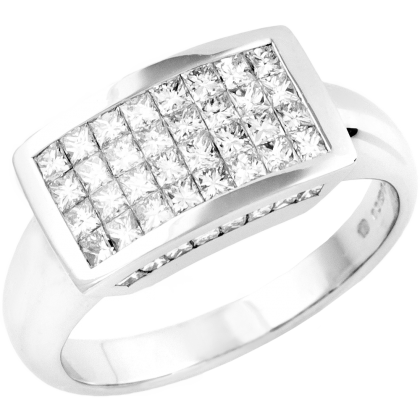 An eye catching dress/cocktail diamond ring in 18ct white gold (In stock)