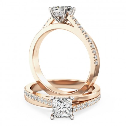 A delightful princess cut diamond ring with shoulder stones in 18ct rose & white gold