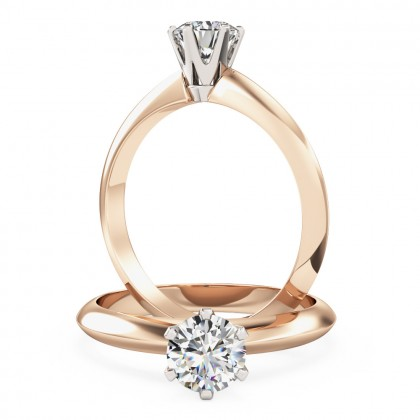 A timeless round cut solitaire diamond ring in 18ct rose & white gold