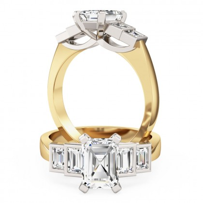 A stylish emerald & baguette cut five stone diamond ring in 18ct yellow & white gold