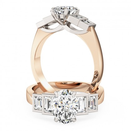 An exquisite oval and baguette cut diamond ring in 18ct rose & white gold