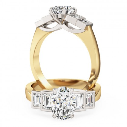 An exquisite oval and baguette cut diamond ring in 18ct yellow & white gold