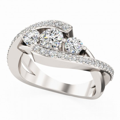 A beautiful diamond three stone diamond ring with shoulder stones in 18ct white gold