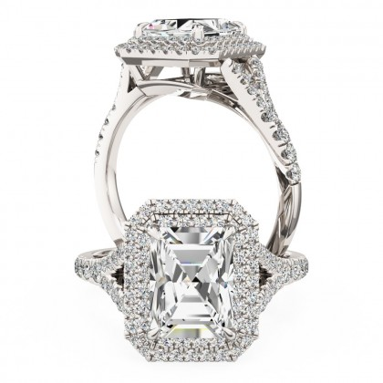 A stunning emerald cut diamond double halo set in platinum