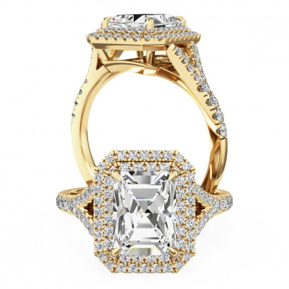 A stunning emerald cut diamond double halo set in 18ct yellow gold