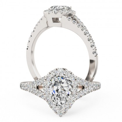 A stunning pear shape diamond ring with shoulder stones in 18ct white gold