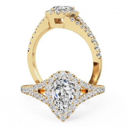 A stunning pear shape diamond ring with shoulder stones in 18ct yellow gold