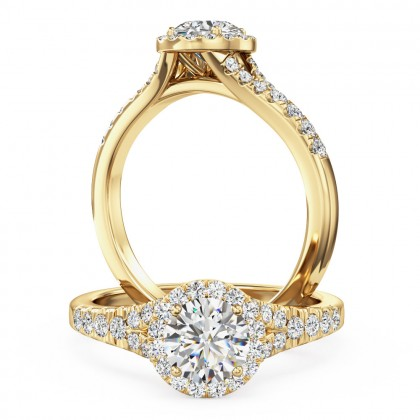 A stunning round brilliant cut diamond halo with shoulder stones in 18ct yellow gold