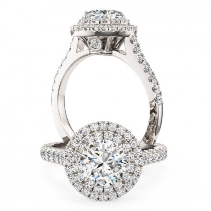 An exquisite Round Brilliant Cut diamond halo cluster with shoulder stones in platinum (In stock)