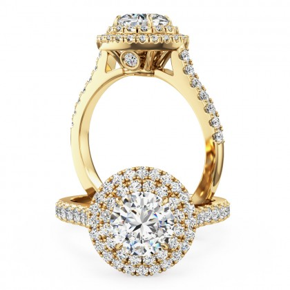 An exquisite Round Brilliant Cut diamond halo cluster with shoulder stones in 18ct yellow gold