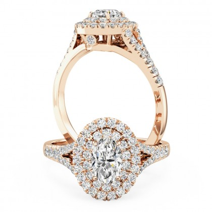A luxurious oval cut double halo diamond ring with shoulder stones in 18ct rose gold