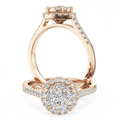A stunning round brilliant cut halo diamond ring in 18ct rose gold