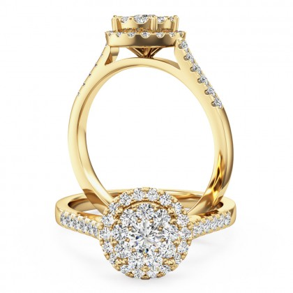 A stunning round brilliant cut halo diamond ring in 18ct yellow gold
