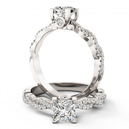 A beautiful Princess Cut diamond ring with shoulder stones in 18ct white gold