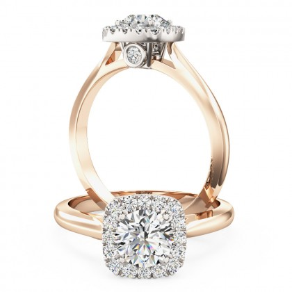A stunning Round brilliant cut diamond cushion shaped Halo ring in 18ct rose & white gold