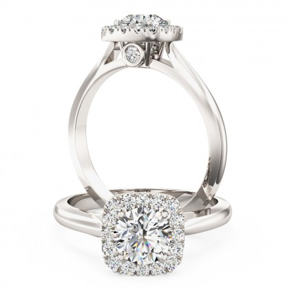 A stunning round brilliant cut diamond cushion shaped halo in 18ct white gold