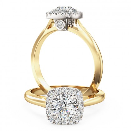 A stunning Round brilliant cut diamond cushion shaped Halo ring in 18ct yellow & white gold