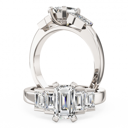 A stylish Emerald & Baguette Cut five stone diamond ring in platinum (In stock)