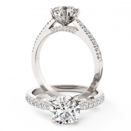A beautiful Round Brilliant Cut diamond ring with side and shoulder stones in 18ct white gold