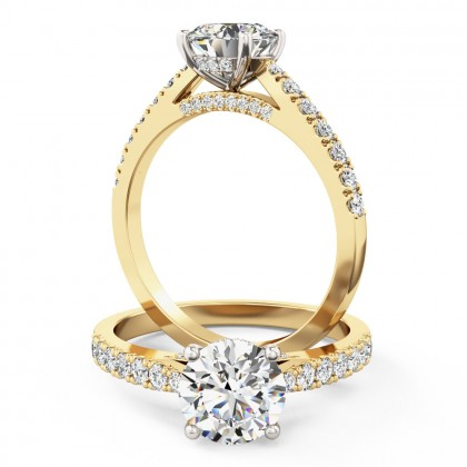 A beautiful Round Brilliant Cut diamond ring with side and shoulder stones in 18ct yellow & white gold