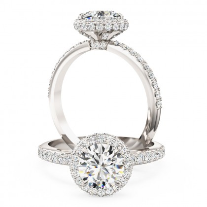 An Exquisite round brilliant cut diamond Halo ring with shoulder stones in platinum