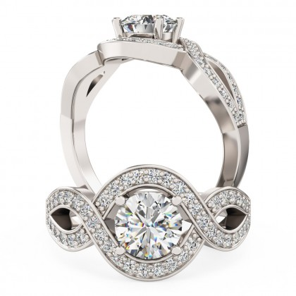 An exquisite Round Brilliant Cut diamond ring with shoulder stones in platinum