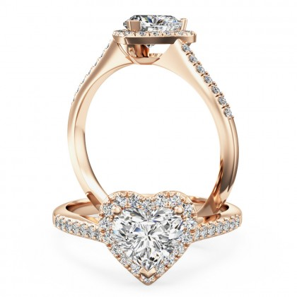 A stunning heart diamond halo with shoulder stones in 18ct rose gold