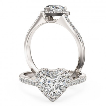 A stunning heart diamond halo with shoulder stones in 18ct white gold