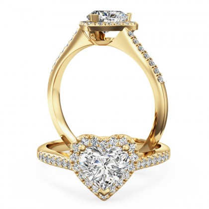 A stunning heart diamond halo with shoulder stones in 18ct yellow gold