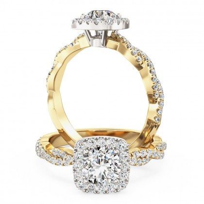 A stunning round brilliant cut diamond cushion shaped halo with shoulder stones in 18ct yellow & white gold