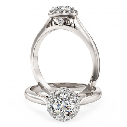 A stunning round brilliant cut diamond Halo ring in 18ct white gold