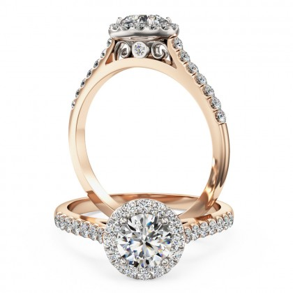 A stunning Round brilliant cut diamond Halo ring with shoulder stones in 18ct rose & white gold