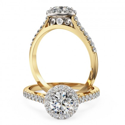 A stunning Round brilliant cut diamond Halo ring with shoulder stones in 18ct yellow & white gold