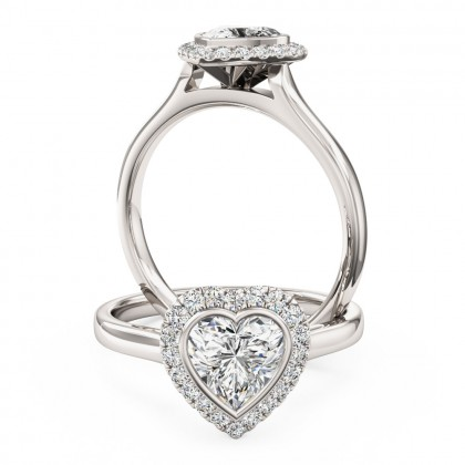 A beautiful Heart shaped diamond halo cluster ring in platinum (In stock)