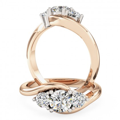 A beautiful Round Brilliant Cut three stone diamond ring in 18ct rose & white gold