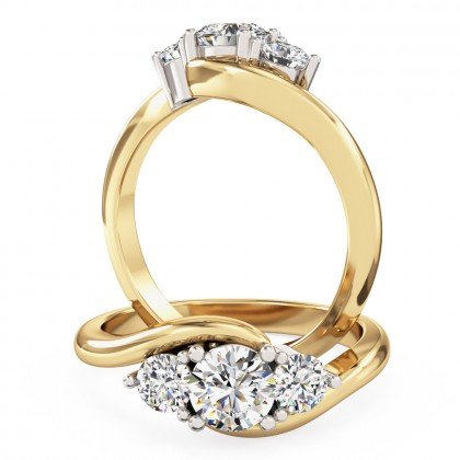 A beautiful Round Brilliant Cut three stone diamond ring in 18ct yellow & white gold