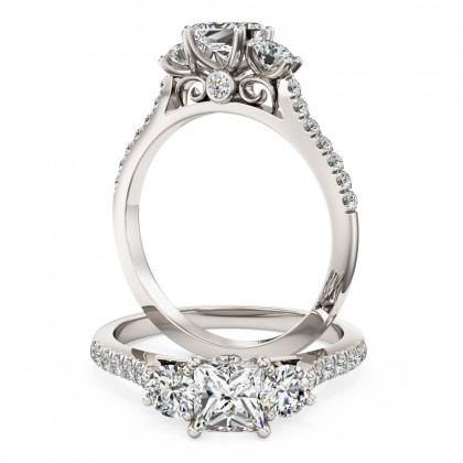 A stunning 3 stone diamond ring with shoulder stones in platinum
