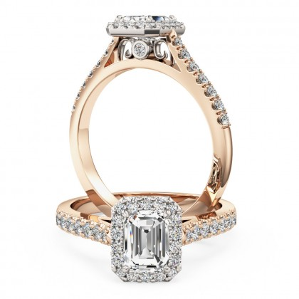 A stunning emerald cut diamond Halo ring with shoulder stones in 18ct rose & white gold