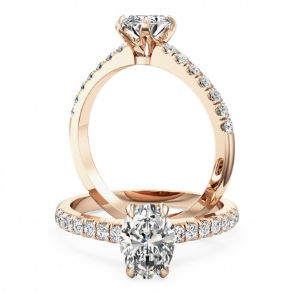 A stunning Oval cut diamond ring with shoulder stones in 18ct rose gold