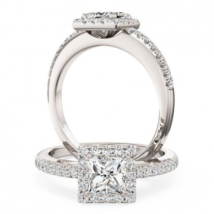 A stunning princess cut diamond Halo ring with shoulder stones in platinum