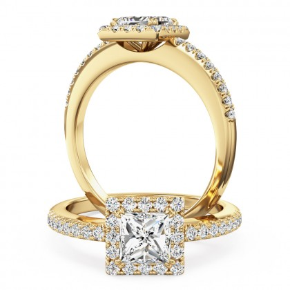 A stunning princess cut diamond Halo ring with shoulder stones in 18ct yellow gold