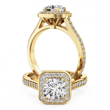 A beautiful cushion cut halo style diamond ring with shoulder stones in 18ct yellow gold