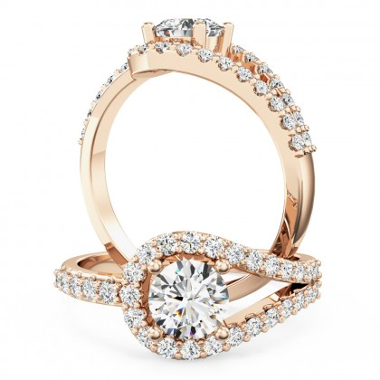 A dazzling diamond halo style ring with diamond shoulders in 18ct rose gold