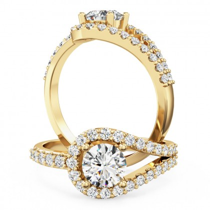 A dazzling diamond halo style ring with diamond shoulders in 18ct yellow gold